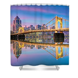 Shower Curtain featuring the photograph Pittsburgh North Shore Reflections  1 by Emmanuel Panagiotakis