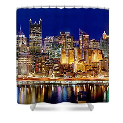 Pittsburgh Pennsylvania Skyline At Night Panorama Shower Curtain by Jon Holiday