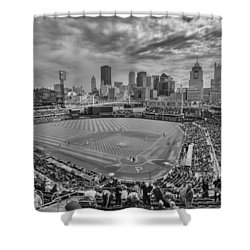 Pittsburgh Pirates Pnc Park Bw X1 Shower Curtain by David Haskett