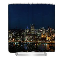 Pittsburgh Skyline At Dusk Panoramic  Shower Curtain