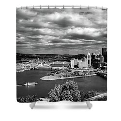Pittsburgh Skyline With Boat Shower Curtain by Michelle Joseph-Long