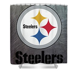 Pittsburgh Steelers On An Abraded Steel Texture Shower Curtain