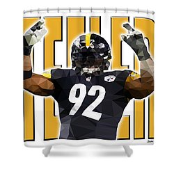 Shower Curtain featuring the digital art Pittsburgh Steelers by Stephen Younts