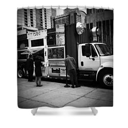 Pizza Oven Truck - Chicago - Monochrome Shower Curtain by Frank J Casella