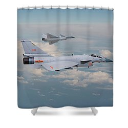 Shower Curtain featuring the photograph Plaaf J10 - Vigorous Dragon by Pat Speirs