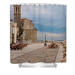 Place By The Sea Shower Curtain by Rae Tucker