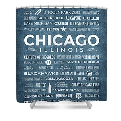 Shower Curtain featuring the digital art Places Of Chicago On Blue Chalkboard by Christopher Arndt