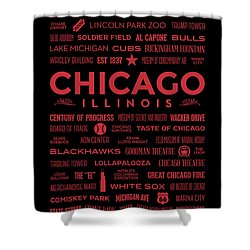 Shower Curtain featuring the digital art Places Of Chicago On Red On Black by Christopher Arndt