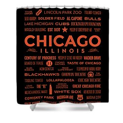 Shower Curtain featuring the digital art Places Of Chicago Orange On Black by Christopher Arndt