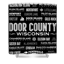 Places Of Door County On Black Shower Curtain by Christopher Arndt