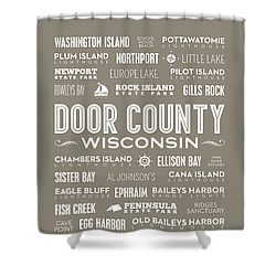Shower Curtain featuring the digital art Places Of Door County On Brown by Christopher Arndt