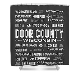 Places Of Door County On Gray Shower Curtain by Christopher Arndt