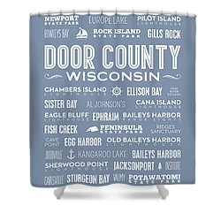 Shower Curtain featuring the digital art Places Of Door County On Light Blue by Christopher Arndt