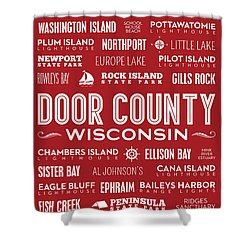 Places Of Door County On Red Shower Curtain by Christopher Arndt