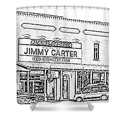 Shower Curtain featuring the photograph Plains Ga Downtown by Jerry Battle