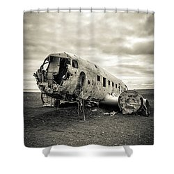 Shower Curtain featuring the photograph Plane Crash Iceland by Edward Fielding