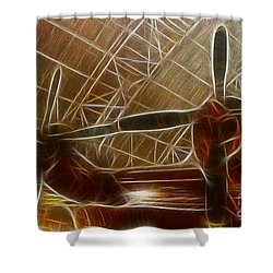 Plane In The Hanger Shower Curtain by Paul Ward