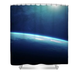 Planet Earth Sunrise From Space Shower Curtain