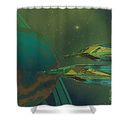 Planet Of Origin Shower Curtain by Corey Ford