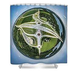 Shower Curtain featuring the photograph Planet Of The Roundabouts by Randy Scherkenbach