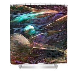 Shower Curtain featuring the digital art Planetary Chaos by Linda Sannuti