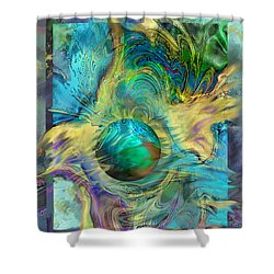 Planetary Collision 2 Shower Curtain by Ursula Freer