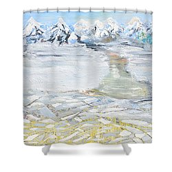 Shower Curtain featuring the painting Winter In The Mountains by Evelina Popilian