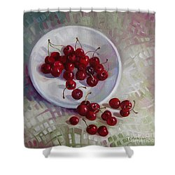 Plate With Cherries Shower Curtain