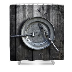 Plate With Silverware Shower Curtain by Joana Kruse