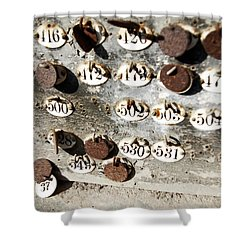 Plates With Numbers Shower Curtain by Carlos Caetano