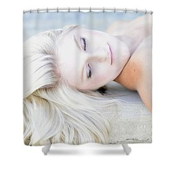 Platinum Blonde Blue Eyes Shower Curtain by Pamela Patch