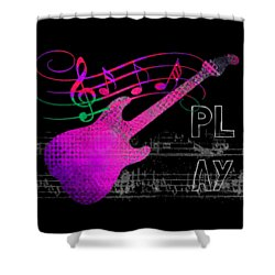 Shower Curtain featuring the digital art Play 5 by Guitar Wacky