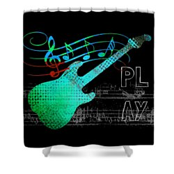 Shower Curtain featuring the digital art Play 4 by Guitar Wacky