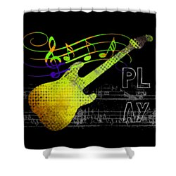 Shower Curtain featuring the digital art Play 2 by Guitar Wacky