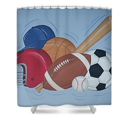 Play Ball Shower Curtain by Valerie Carpenter