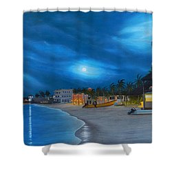 Playa De Noche Shower Curtain by Angel Ortiz