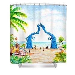 Playa Del Carmen Portal Maya Statue Shower Curtain