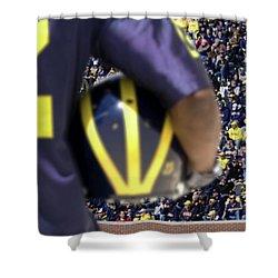 Player Cradling Helmet In Stadium Shower Curtain