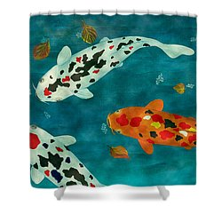 Shower Curtain featuring the painting Playful Koi Fishes Original Acrylic Painting by Georgeta Blanaru