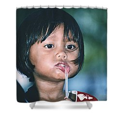 Shower Curtain featuring the photograph Playful Little Girl In Thailand by Heiko Koehrer-Wagner
