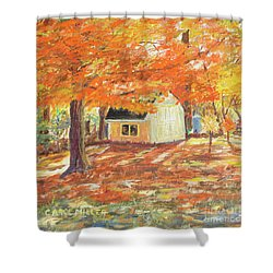 Shower Curtain featuring the painting Playhouse In Autumn by Carol L Miller