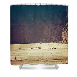 Playing Along Oceanside Oregon Shower Curtain