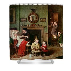 Playing At Doctors Shower Curtain by Frederick Daniel Hardy