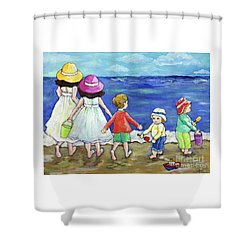 Shower Curtain featuring the painting Playing At The Seashore by Rosemary Aubut