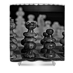 Shower Curtain featuring the photograph Playing Chess 2 by Cendrine Marrouat