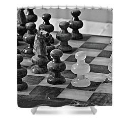 Shower Curtain featuring the photograph Playing Chess by Cendrine Marrouat