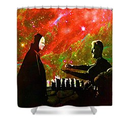 Playing Chess With Death Shower Curtain by Matthew Lacey