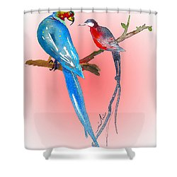 Playing Footsie Shower Curtain by Miki De Goodaboom