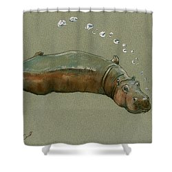 Playing Hippo Shower Curtain by Juan  Bosco