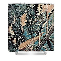Shower Curtain featuring the digital art Playing It Koi by Mindy Newman